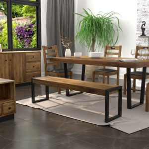 Flea Market Dining Bench in Natural Rustic