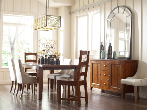 New England FSC Large Extending Table & 6 Chairs In Coffee Bean