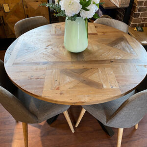 PRE ORDER Metro Round Table Set with Metro Fabric Chairs