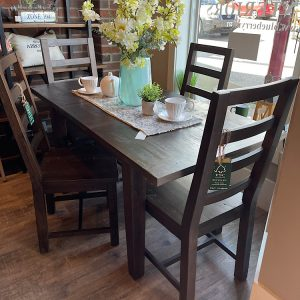 New England Small Extending Table & 4 Chairs in Black Bean