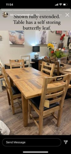 New England Small Extending Table & 4 Chairs in Natural Rustic