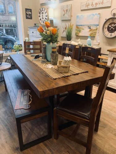 PRE ORDER Flea Market Table, 4 Chairs & Bench in Coffee Bean