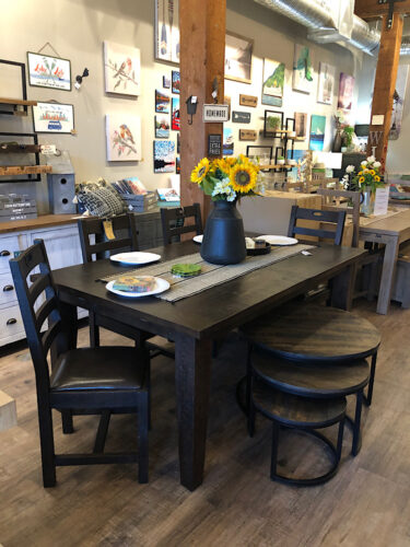 New England FSC Large Extending Table & 6 Chairs In Black Bean