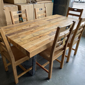 Flea Market Table & 6 Chairs in Natural Rustic